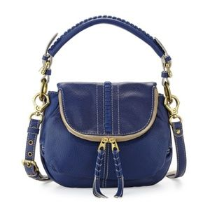 OrYANY Hannah Leather Flat Crossbody Indigo Bag